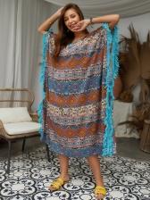 V Neck Tassel Contrast Color Swing Bench Dress