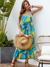 V Neck Leaf Printed Straps Maxi Dress