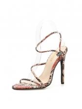 Euro Snake Printed High Heel Women Sandals