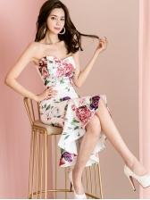 Flower Printed Ruffled Strapless Fishtail Dress