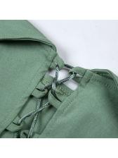 Lace Up Camisole Patchwork Gauze T-Shirt
