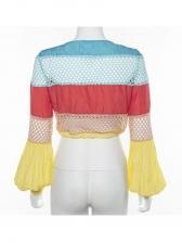 Lantern Sleeve Contrast Color Crop T-Shirt