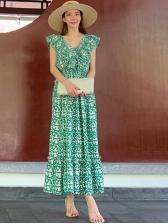 Fresh V Neck Ruffled Sleeveless Maxi Dress