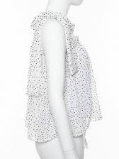 Bow-Wrap Polka Dots Sleeveless White Blouse