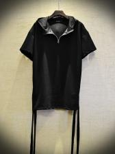 Hooded Collar Drawstring Side Black T-shirt