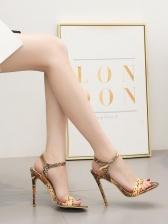 Euro Summer Snake Printed Ankle Strap Heels