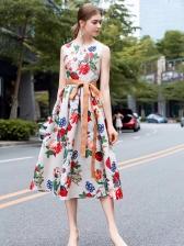Boutique Rhinestone Tie Wrap Floral Midi Dress