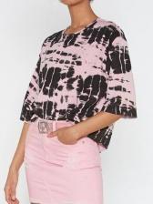 Contrast Color Printing Crew Neck Women T-Shirt