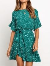 Fresh Style Printing Tie-Wrap Ruffles Hem Dresses