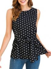 Crew Neck Polka Dots Sleeveless Chiffon T-Shirt