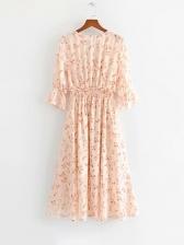Sweet V-neck Floral Shirred Midi Dress