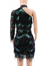Fashion Sequined Tassel Inclined Shoulder Dress