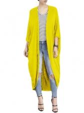 Minimalist Bat Sleeve Cotton Long Cardigan For Women