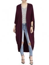 Casual Solid Bat Sleeve Long Coat For Women