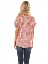 V Neck Printed Binding Wrap Short Sleeve T-Shirt