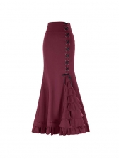 High Waist Cross Lace Up Pleated Ruffles Maxi Skirt