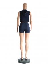 Gauze Panel Letter Hooded Activewear For Women