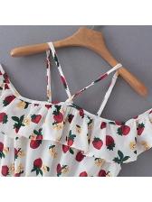 Sweet Style Fruit Printed Ruffled Romper