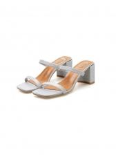 Korean Style Square Toe Chunky Heel Women Slippers