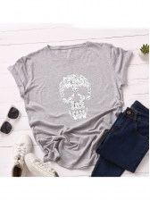 Round Collar Cat Skull Printing Casual T-Shirt
