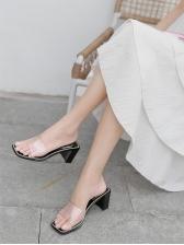 Korean Casual Chunky Heel Women Slippers