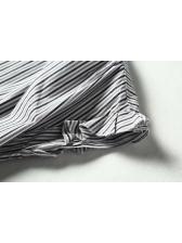 Mock Neck Striped Loose Blouse