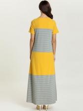 Plus Size Contrast Color Striped Maxi Dress