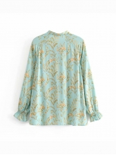 Ruffled Printed Loose Tie Neck Blouse