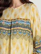 National Style Printed Long Sleeve Maxi Dress