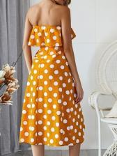 Euro Polka Dots Ruffles Strapless Dress