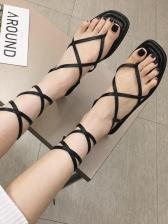Roman Style Cross Strap Flat Women Sandals