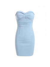 Sexy Solid Color Strapless Bodycon Dress