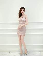 New Arrival Lace Detail Strapless Mini Dress