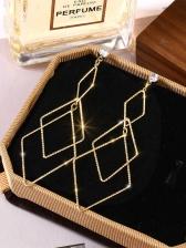 Metal Geometric Shape Rhinestone Long Earrings