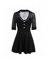 V-neck Lace Patchwork A-line Short Sleeves Dress