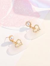 Sweet Heart Shape Rhinestone Faux Pearl Earrings