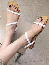 Roman Style Simple Summer Square Toe Flat Sandals