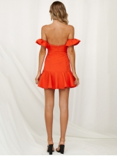 Boat Neck Ruffles Sleeves Backless A-line Dress