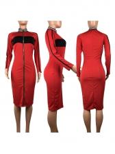 Euro Contrast Color Zipper Up Bodycon Dress