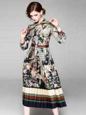 Vintage Style Floral Self Tie Midi Dress