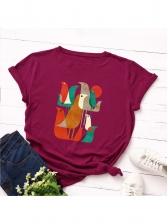 Summer Crew Neck Short Sleeve Birds Printed T-shirt
