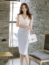 V-neck Contrast Color Sleeveless Bodycon Dress