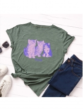 Cats Printed Round Collar Short Sleeve T-shirt
