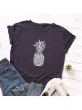 Summer Pineapple Printed Round Neck T-shirt