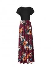 Vintage Style Patchwork Printed Short Sleeve Maxi Dress