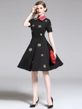 Turndown Collar Embroidered Flower Big Swing Dress