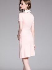 Fashion Bee Embroidery Contrast Color Fitted Dress