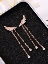 Fashion Wing Zircon Long Eardrop