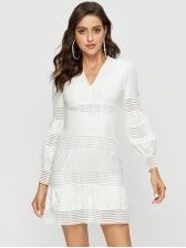 Stylish V-neck Solid Long Sleeves Dress