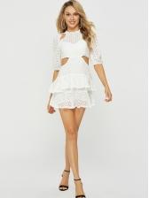 Elegant Hollow Out Flounce Hem Short Sleeves Dress
